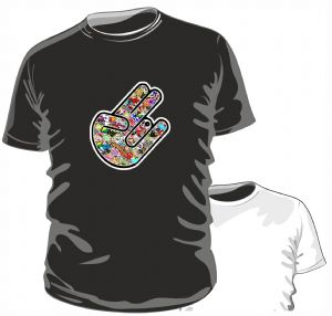 THE SHOCKER HAND With Multi Colour JDM Style Stickerbomb Motif Novelty Design for mens or ladyfit t-shirt